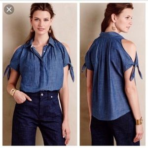 Holding Horse chambray polka dot tie shoulder top